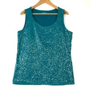 Coldwater Creek Teal Blue Sequin Front Sleeveless